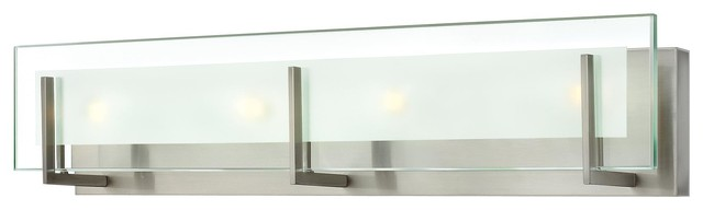 Modern Bathroom Lighting Brushed Nickel hinkley 5654 latitude 4 light bath bar - contemporary - bathroom