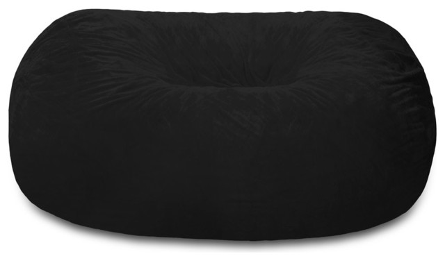 Superb 6 Ft. Large Bean Bag Lounger Chill Sack, Black Furry Contemporary Bean