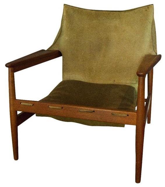 Vintage Hans Olsen Suede Sling Chair - Modern - Living Room Chairs ...