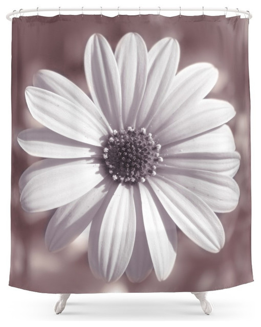 Beautiful Society6 White Daisy Shower Curtain Contemporary Shower Curtains