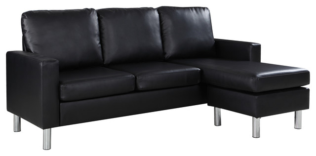 Modern Bonded Leather Sectional Sofa, Small Space Configurable Couch, Black