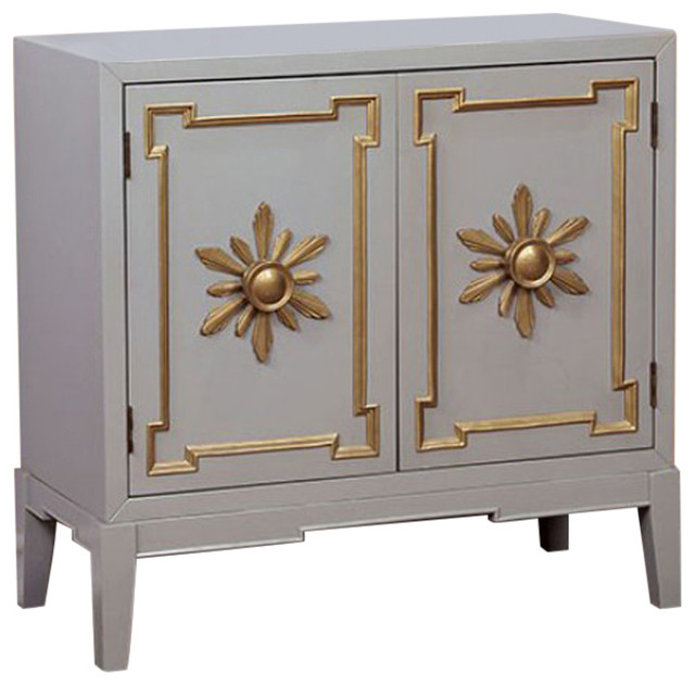 Traditional Style Wooden Hallway Chest, Gray.