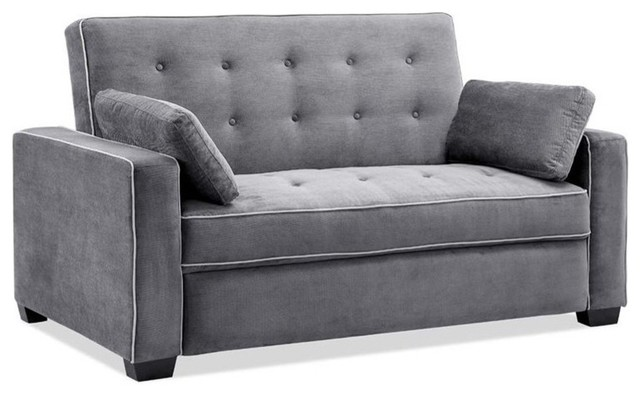 Lifestyle Solutions Monroe Convertible Queen Sofa In Gray