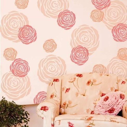 Rose Wall Art Stencil - Contemporary - Wall Stencils - by Cutting ...