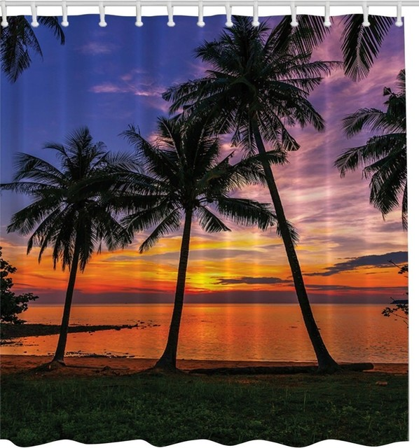 Palm Trees At Sunset Fabric Shower Curtain - Tropical - Shower ...