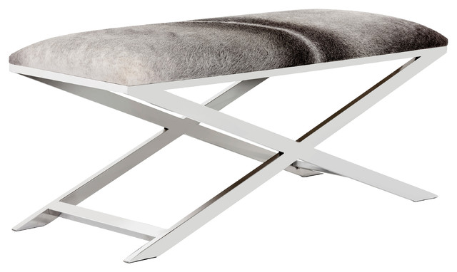 Jagger Hollywood Regency Black-And-White Cowhide Leather Silver X-Frame Bench. -1