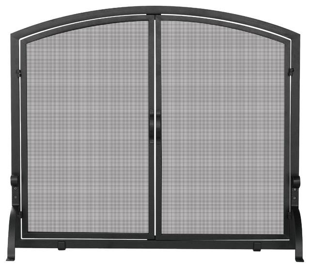 Single Panel Black Iron Fireplace Screen With Doors.