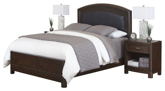 Home styles crescent hill 3 piece leather upholstered for Transitional bedroom furniture
