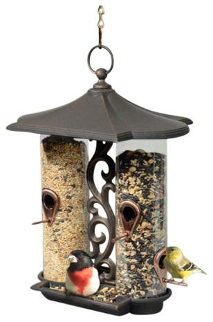 Double Tube Decorative Bird Feeder, Oil Rubbed Bronze