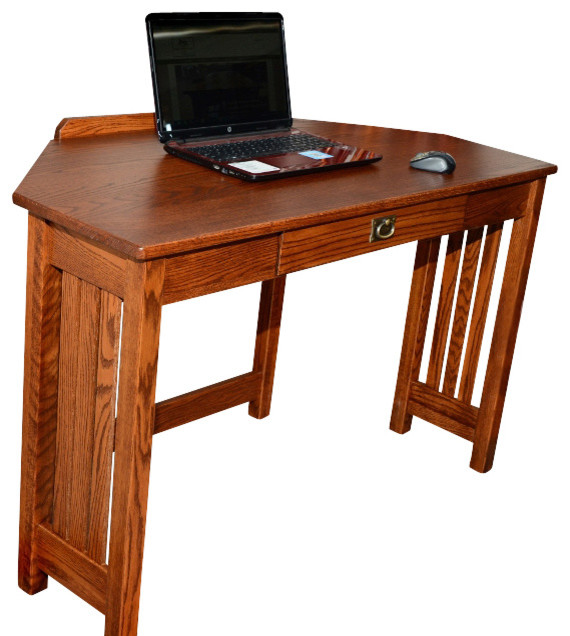 Mission Solid Oak Corner Computer Desk - Traditional - Desks And ...