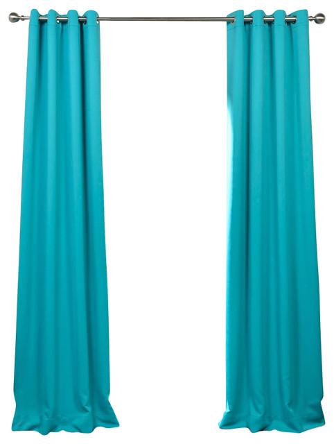 Turquoise Blue Grommet Blackout Curtain Single Panel