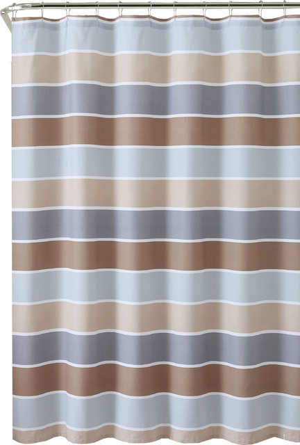 Brown Beige Gray White Striped 100% Cotton Fabric Shower Curtain ...