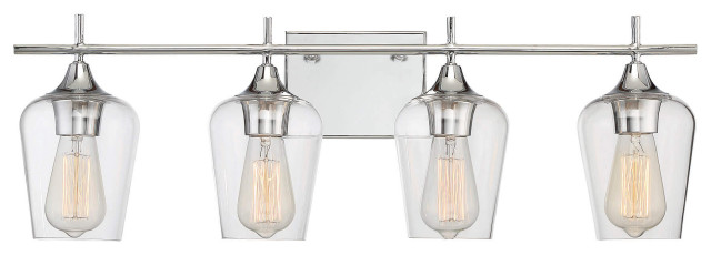 Savoy House Octave 4 Light In Bath Bar Polished Chrome With Clear Glass