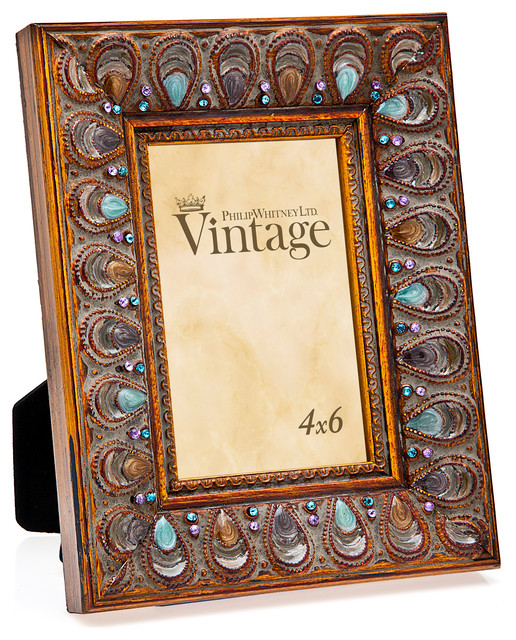 philip whitney 4x6 peacock enamel with jewel frame mediterranean picture frames