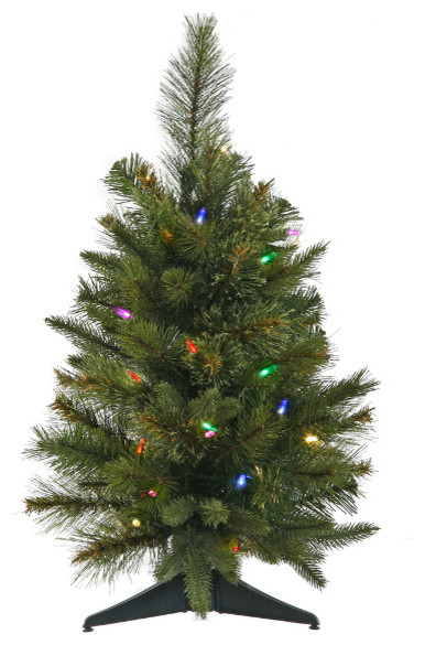 Pre-Lit Battery Operated Mixed Pine Cashmere Christmas Tree, Multi LED, 2' - Pre-Lit Battery Operated Mixed Pine Cashmere Christmas Tree, Multi