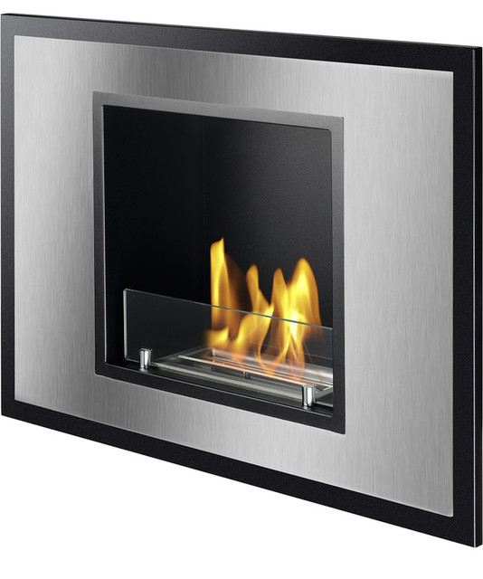 Vienna recessed ventless ethanol fireplace ul cul for Contemporary ventless fireplace