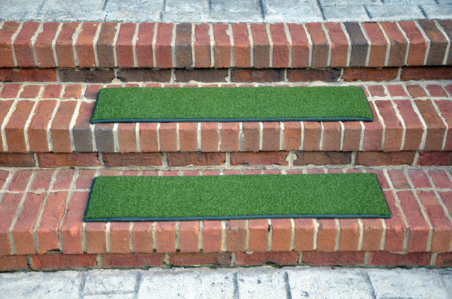 Indoor Or Outdoor Non-Slip Carpet Stair Treads, Oasis Green, Set Of 3, 36x9.