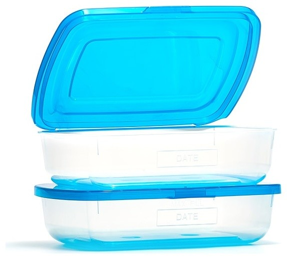 2-Piece Sandwich Storage Container Set With Patented Permanently Attached Lids.