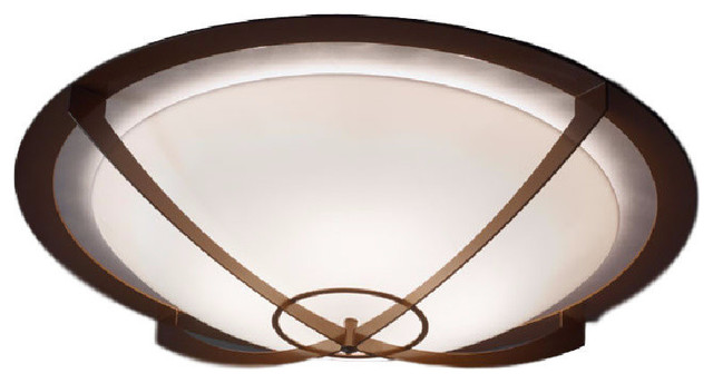 Synergy Ceiling Mount, Incandescent, Medieval Bronze Finish, Diffuser: Opal Acry.