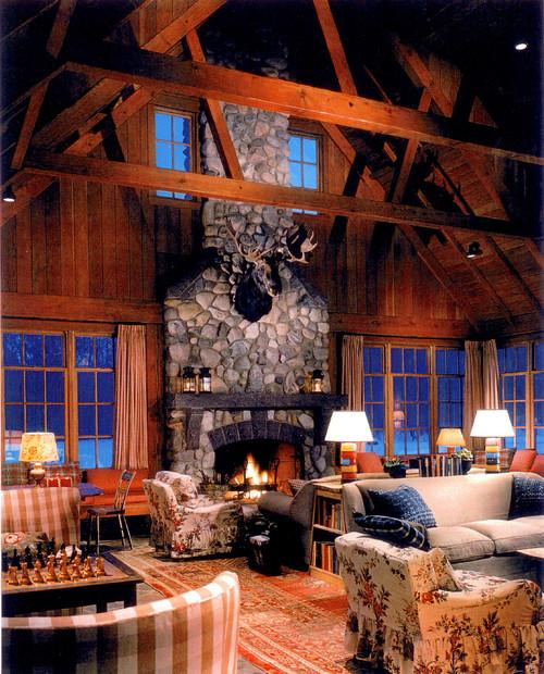 lakeside resort traditional family room