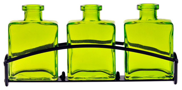Couronne Co. Rio Three Recycled Glass Vases and Metal Stand, Lime