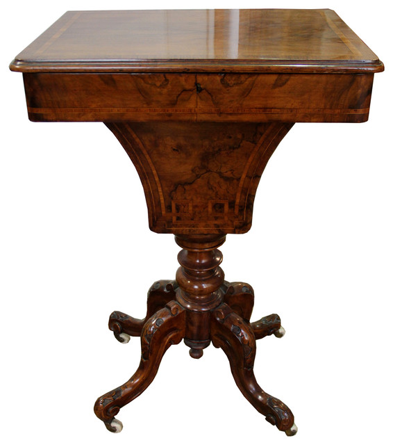 A Th Century Victorian Burl Walnut Sewing Table Traditional - Burled walnut dining table