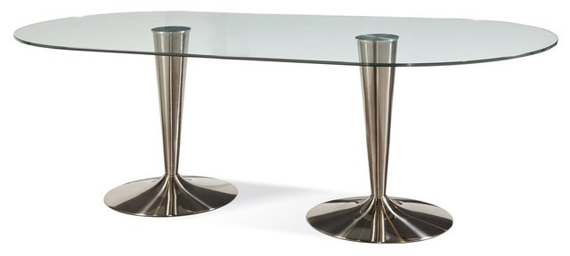 Bassett Mirror Concorde Oval Glass Dining Table w Double Chrome