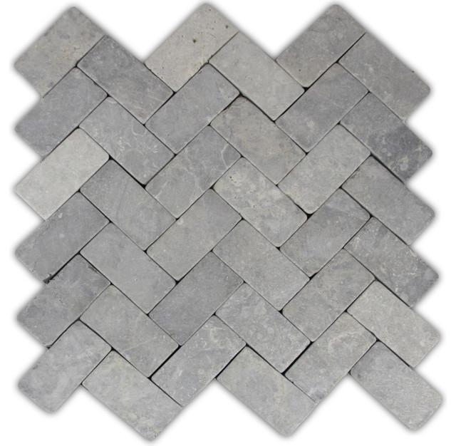 11x12 Light Gray Herringbone Stone Mosaic Tile Traditional