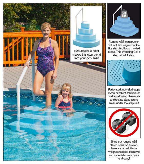 Blue Wave Blue Wedding Cake Pool Step