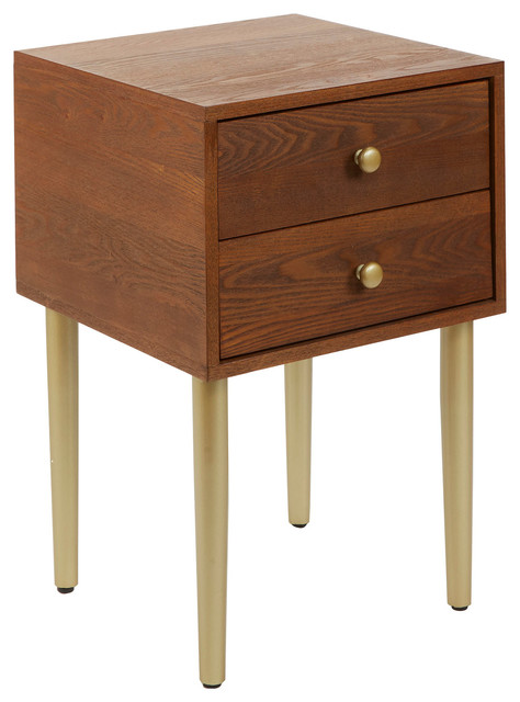 Hepburn 2 Drawer Mixed Material Mid Century Modern Side Table Walnut Gold