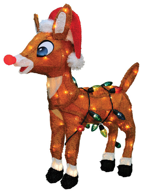 pre lit soft rudolph the red nosed reindeer christmas yard art decoration 24
