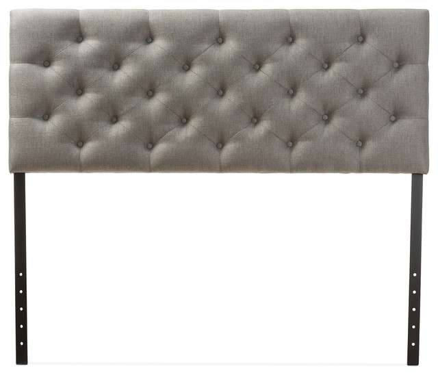 Viviana Fabric Upholstered Button-Tufted Headboard, Queen, Gray.