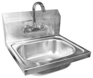 "20""x17"" Extra Wide Stainless Steel Wall Mount Hand Sink With Lead-Free Faucet"