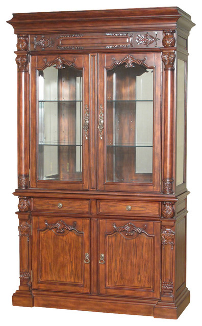 Captivating 7.5Ft Tall Mahogany China Hutch Lighted Curio Display Showcase Cabinet