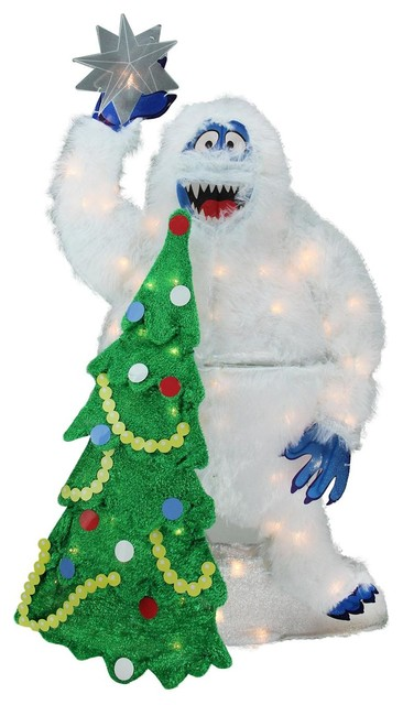Pre Lit Fur Bumble With Tree And Star Yard Decor 32 Contemporary