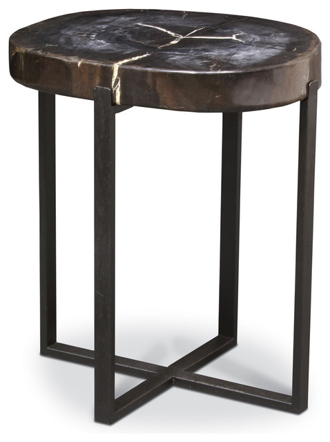 Palecek black petrified wood accent table contemporary for Black wood end tables