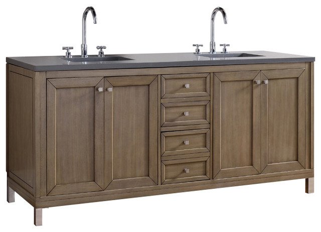 Chicago 72 double vanity white washed walnut for Bathroom vanities chicago suburbs