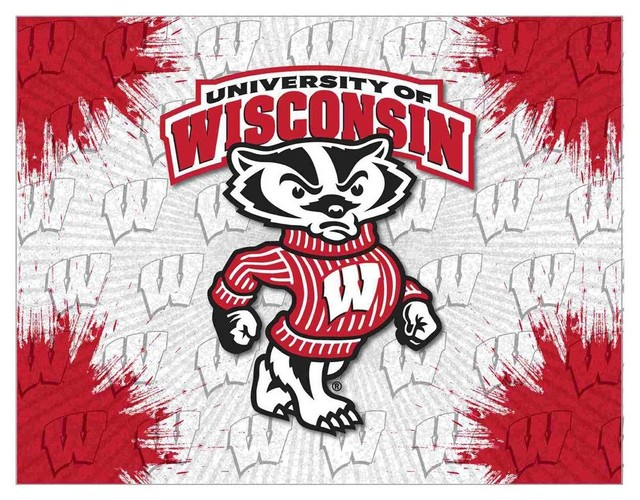 Wisconsin Bucky Badger Stretched Canvas Wall Art