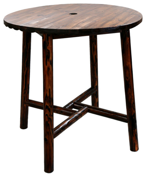 Char log bar table rustic outdoor bar furniture by leigh country - Rustic outdoor bar stools ...