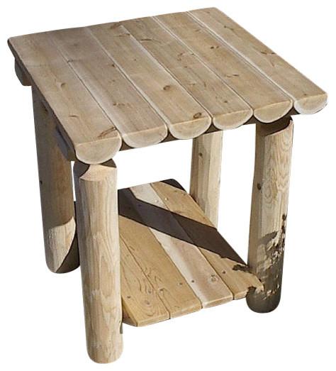 Furniture Barn Usa Rustic White Cedar Log Two Tiered End