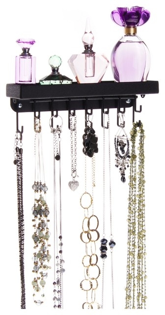 Wall Mount Necklace Holder Storage Rack Hanging Jewelry Organizer Fiona Contemporary Jewelry Boxes And Organizers By Angelynn S