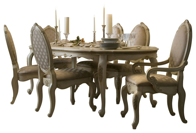 7 Piece Lavelle Blanc Oval Dining Table Set Traditional Dining Sets