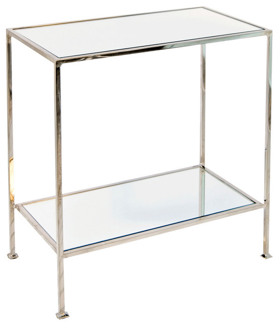 Worlds Away 2 Tier Nickel Plated Rectangular Side Table PLANO N