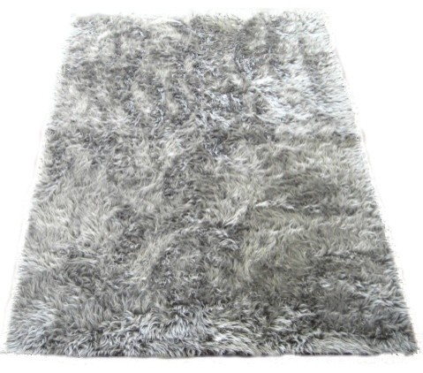 Walk On Me Dark Silver Faux Fur Flokati Rug 40 X55