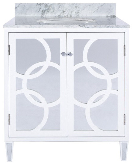 Worlds Away White Lacquer Bath Vanity With Overlapping