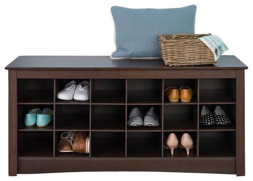 18-Slot Shoe Storage Bench, Espresso