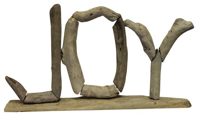 Joy Letters Natural Driftwood Coastal Christmas Holiday Tabletop Mantle Decor