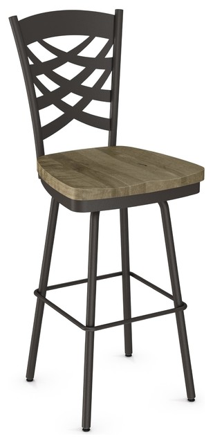 Marvelous Weaver Distressed Swivel Stool Textured Dark Brown Beige Counter Height Bralicious Painted Fabric Chair Ideas Braliciousco