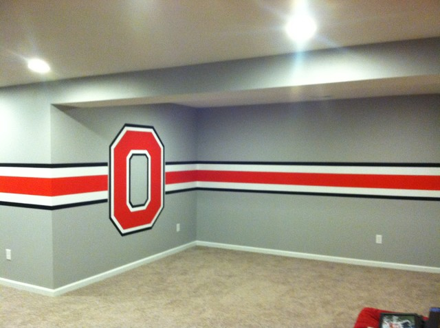 Ohio State Themed Basement Cincinnati By Wolf Creations