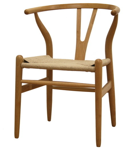 Natural Wood Wishbone Chair Midcentury Dining Chairs by